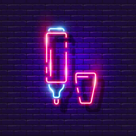 Colored marker pen neon sign. Felt pen glowing icon. Vector illustration for design. Stationery concept