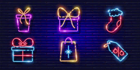 Gift neon signs set. Glowing holiday gift icon. New Year and Christmas concept. Vector illustration for design