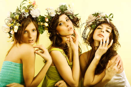 womans: Beautiful womans with flower wreath
