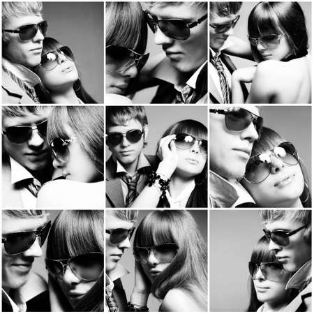 dark glasses: Fashionable young couple wearing sunglasses