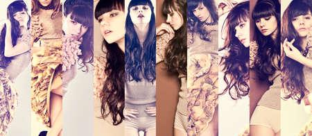長い巻き毛のファッション モデル ブルネット