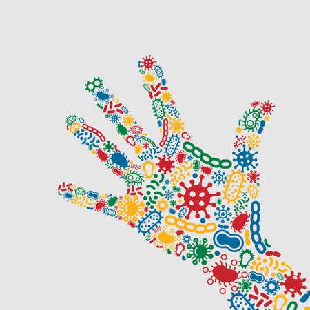Hand Full Of Bacteria Stock Illustratie
