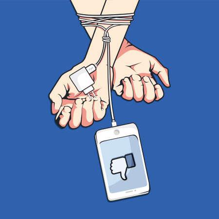 Media Social Addiction Awareness Stock Illustratie