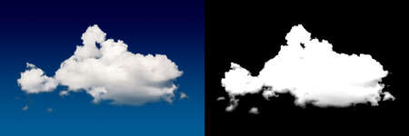 White cloud cut-out mask. Closeup blue sky.