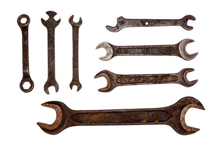 Old rusty wrenches. Intricate shape. Tool kit on white background. Isolate. Archivio Fotografico