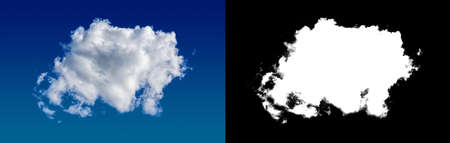 Cloud mask separated from the background. Material for design. Alpha mask of clouds