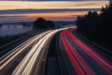 Motorway or highway at dawn
