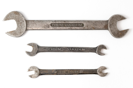 Wrench made of chrome vanadium on white background