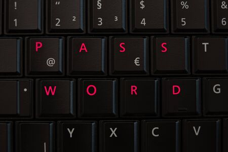 Concept for internet password safety on a keyboard with letters highlighted