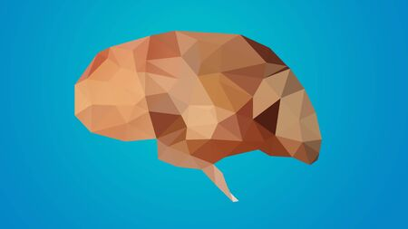 Low poly brain isolated on background for study, lerning, ideas, creative purposes