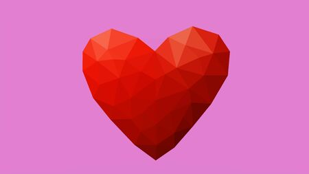 Low poly heart on pink background representing love on valentines day