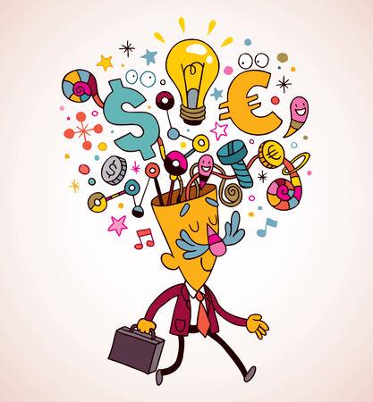 thinking brain: business idea Illustration