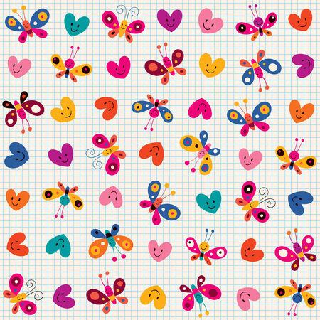 cartoon butterfly: butterflies   hearts pattern