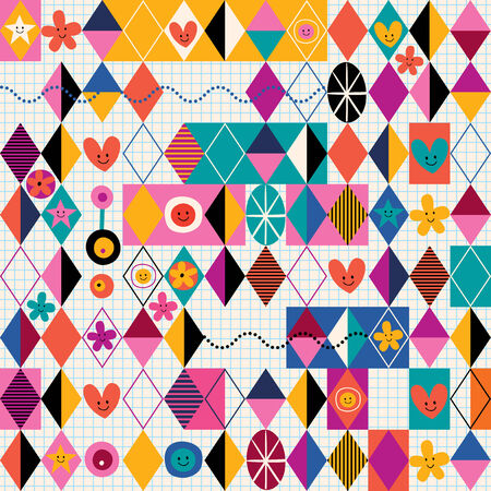 decorate notebook: Retro style fun pattern