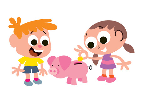 cartoon money: Children s savings Illustration
