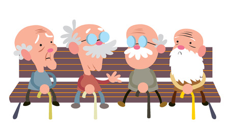 Elderly people on a bench Ilustracja