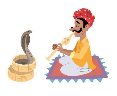 snake charmer: Indian snake charmer Illustration