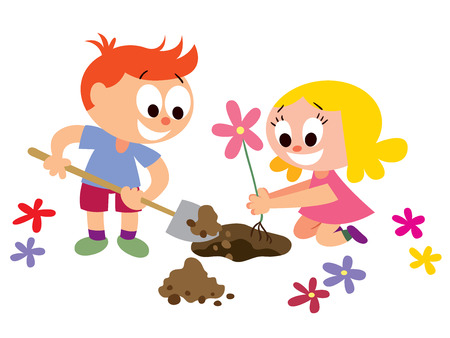 school yard: Kids planting a flower