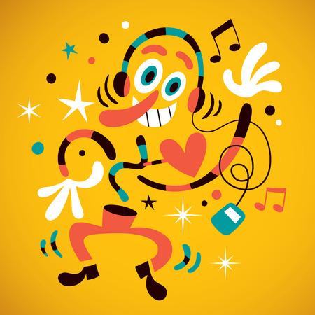 baile caricatura: Ventilador abstracto de la música Vectores