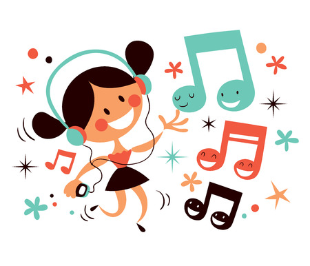 listen to music: girl with headphones Illustration