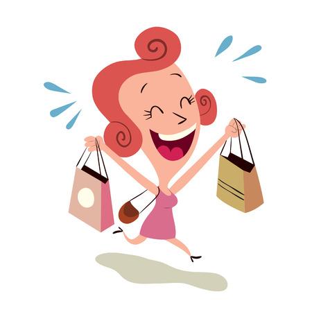 happy woman shopping Vector