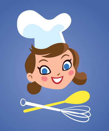 Happy chef woman with kitchen tools Illustration