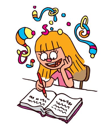 practice primary: School Girl homework imagination