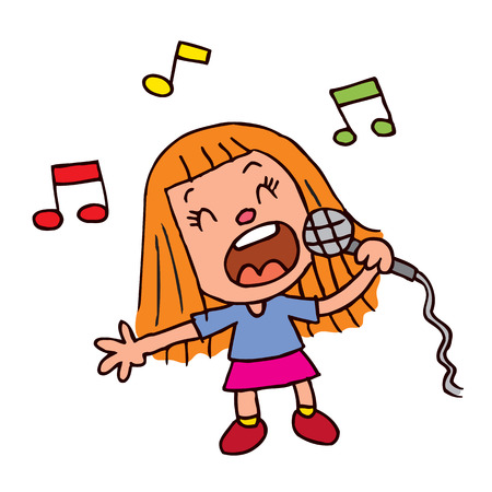 Young girl singing into microphone Illustration