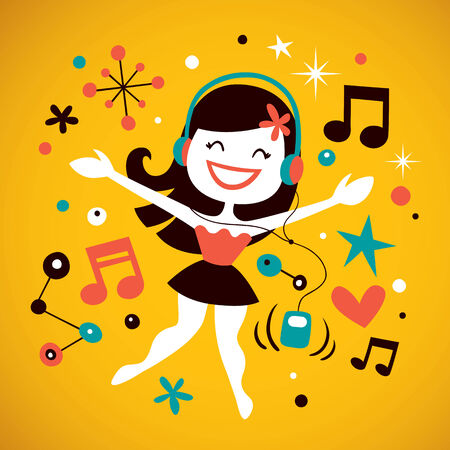 dj headphones: Pretty girl listening music Illustration