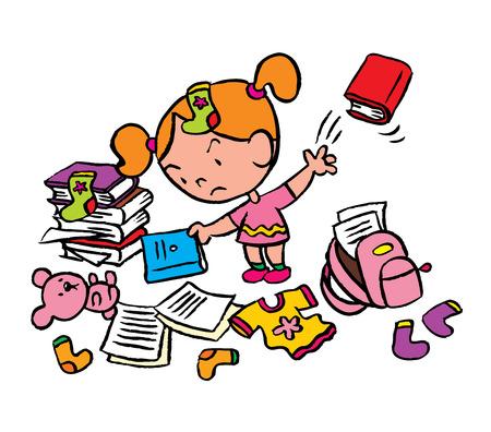 deberes: colegiala en una habitación desordenada