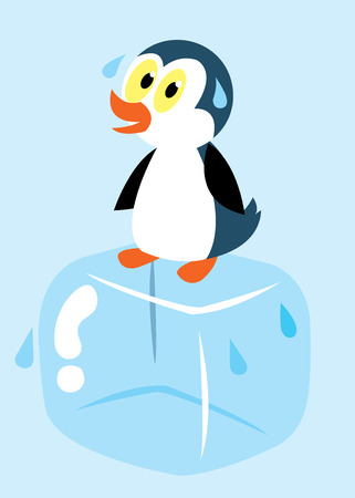 ice cube: penguin on ice cube sweating