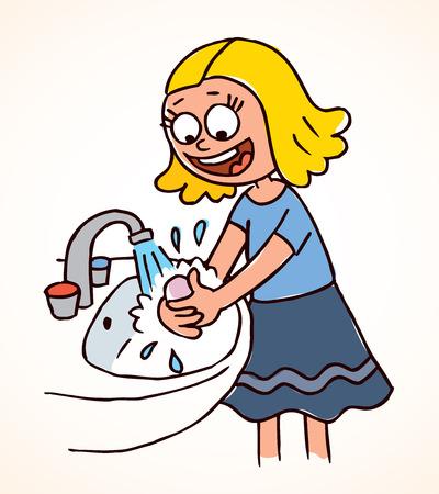 niña de lavarse las manos