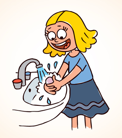 soins mains: petite fille se laver les mains