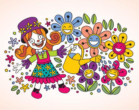 springtime: Little girl watering flowers Illustration