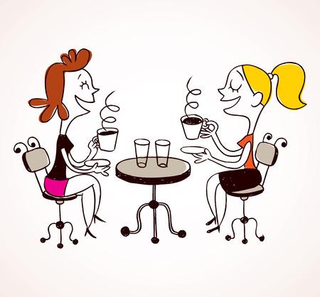 커피를 마시는 두 여자 일러스트