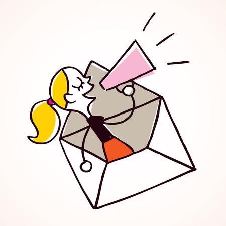 loudhailer: girl message loudhailer Illustration