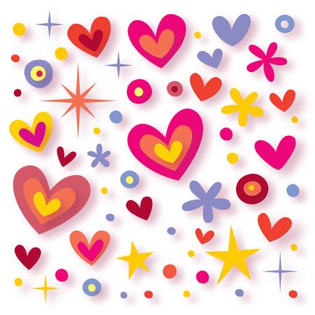 cartoon star: hearts flowers stars background Illustration