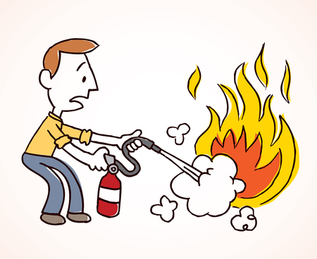 brandweer cartoon: Man het blussen van een brand