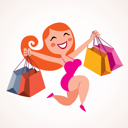 fancy girl: pretty girl shopping Illustration