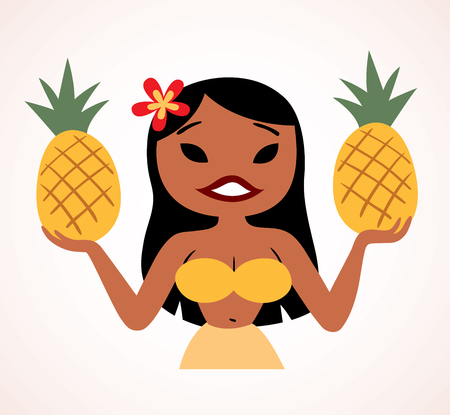 pretty pineapple hula girl Vector