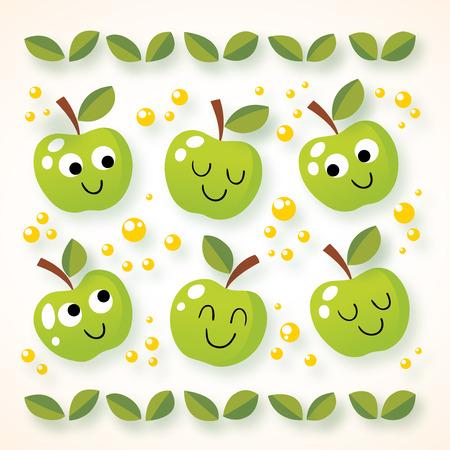frutas divertidas: manzanas felices del dibujo animado