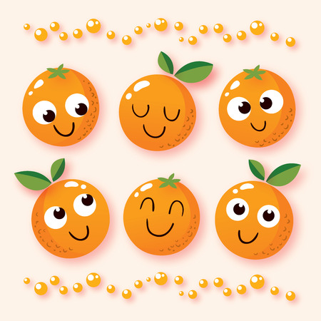 happy cartoon oranges Иллюстрация