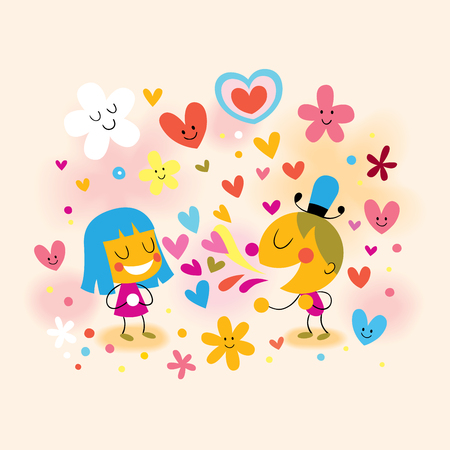 boy and girl fall in love Vector
