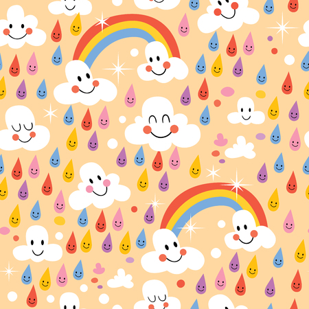 clouds rainbows rain drops seamless pattern Vector