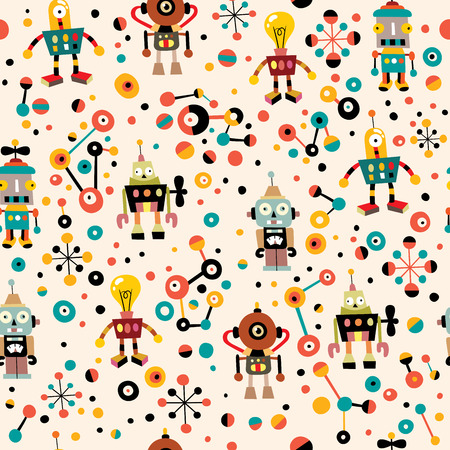 funny robot: cute robots seamless pattern Illustration