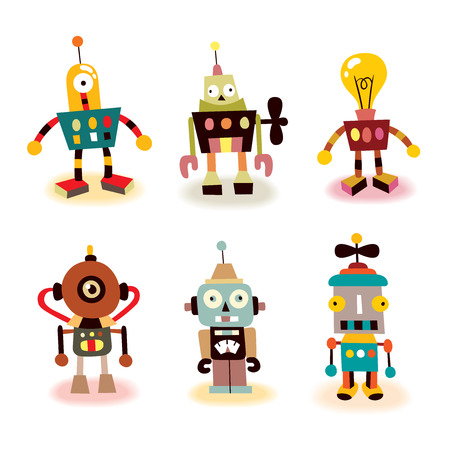 alien robot: cute robots set