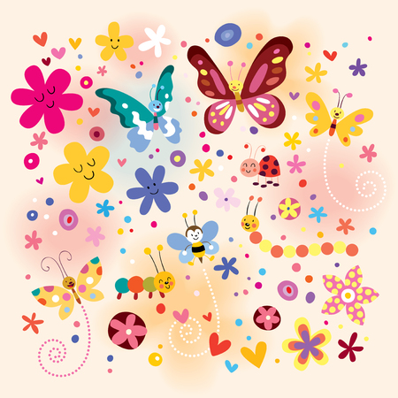 butterflies beetles flowers Vector