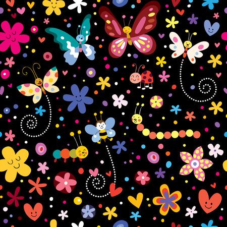 butterflies beetles flowers pattern Vector