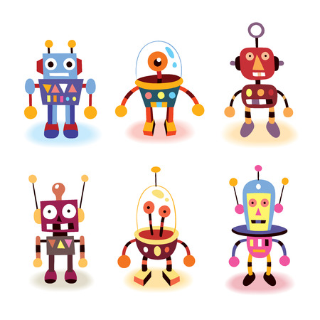 cartoon robots set 일러스트