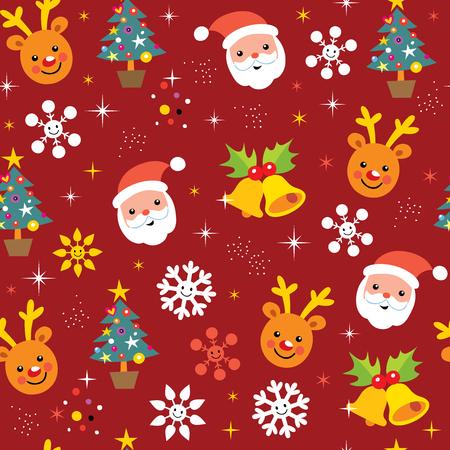 christmas wrapping paper: Christmas pattern reindeer santa
